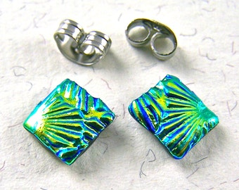 "Tiny Dichroic Post Earrings - 1/4"" 7mm 8mm - Gold Yellow Green Lime Florentine Shell Ripple Texture Fused Glass"