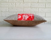 Coral Pillow Cover Cottage Chic - Farmhouse Throw Pillow with Burlap and Ticking - Persimmon Red Floral