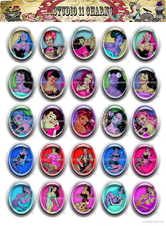 HIGH DOME Faux Ceramic 30x40mm, 18x25mm Cameo Cabochon Pendant ZOMBIE Girls 5B