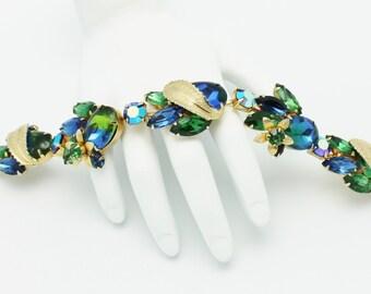 Vintage Bracelet Blue Green Gold Leaves and Flowers