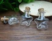 5pcs 20x22mm Handmade Star shaped Clear Glass Bottles  Clear Glass Globe/ Glass Bottle/ Glass Bulbs  N125