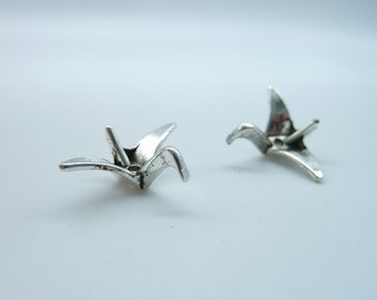 20pcs 8x16x21mm Antique Silver Mini 3D Paper Crane Charm Pendant Spacer B384