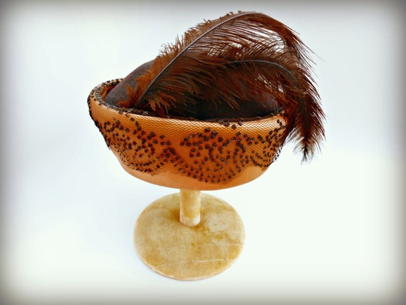 Vintage 1960s Hat - Vintage Black and Copper Satin 1960s Pillbox with Feather Glenover, Henry Pollock