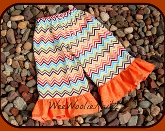 Girls Rainbow Chevron Ruffle Pants Outfit Skirt Capris Shorts Toddler School Tween Long or Short Sleeve