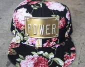 FLOWER POWER or LOVE metal plate snapback hat rojas floral snapback hats flowers caps or bitch queen adorbs, can custom floral cap caps