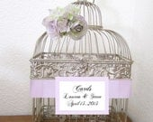 Lavender- Small Champagne/Gold Birdcage -Wedding card holder