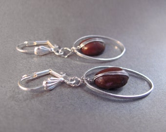 Real Coffee Bean Oval Ring Silver Earrings