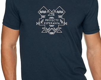 Hope Project Navajo Logo Unisex VNeck T Shirt - Spanish - Feed a child in Nicaragua by purchasing this stylish tee - 4 Colors to choose from