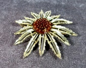 "Reserved for Donna Sarah Coventry ""Starburst"" Flower Brooch, 1960s Gold Tone Brooch"