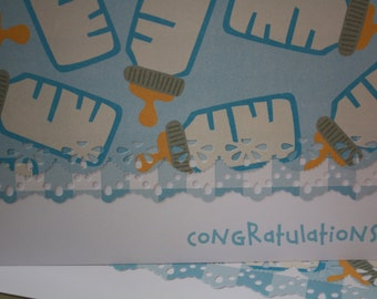 Baby boy bottle personalized handcrafted Note Cards - personalization may be left off  Set of 5