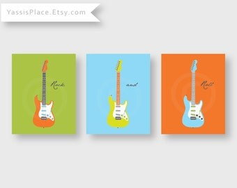 Guitar Art, Stratocaster, Children's Wall Art in green, blue, orange, and gray, set of 3 8X10 pronts, UNFRAMED by Yassisplace
