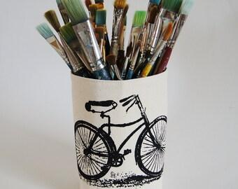 Hand Printed Vintage Black Bicycle/ Organic Cotton Canvas Bin Organizer /Storage Basket / Ready To Ship