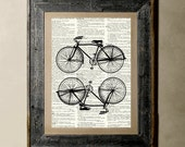 Buy 1 get 1 Free - Bicycle(Version 1) - Printed on a Vintage Dictionary, 8X10, dictionary art, paper art, illustration art, collage