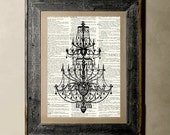 Chandelier - Printed on a Vintage Dictionary, 8X10, dictionary art, paper art, illustration art, collage
