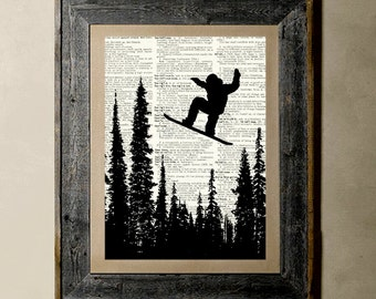 Snowboarding (Version 1) - Printed on a Vintage Dictionary, 8X10, dictionary art, paper art, illustration art, collage, wall art, wall decor