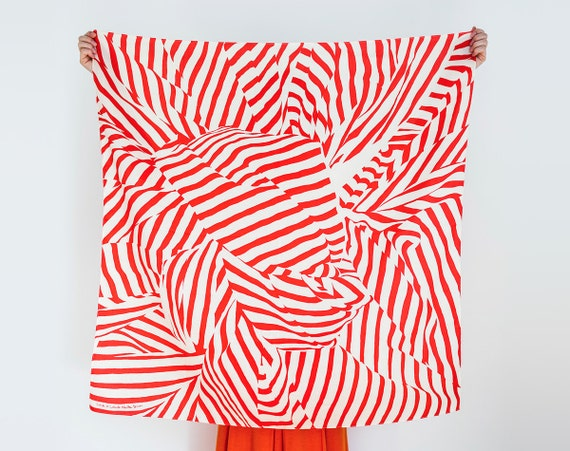 Stripe furoshiki (red) Japanese eco wrapping textile/scarf, handmade in Japan