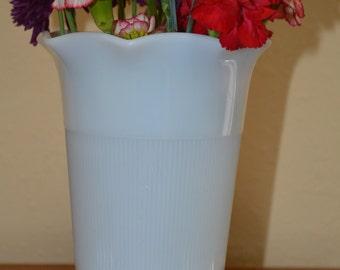 Anchor Hocking Ribbed Milk Glass Vase