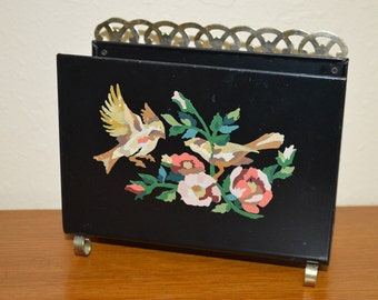 Tole Black Hand Painted Napkin Holder