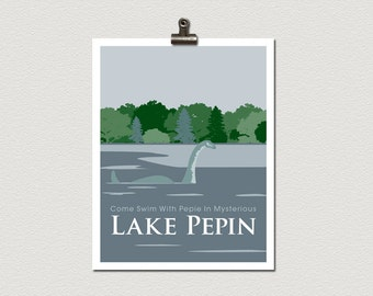 Pepie Lake Pepin Minnesota Roadside Attraction Travel Poster Print