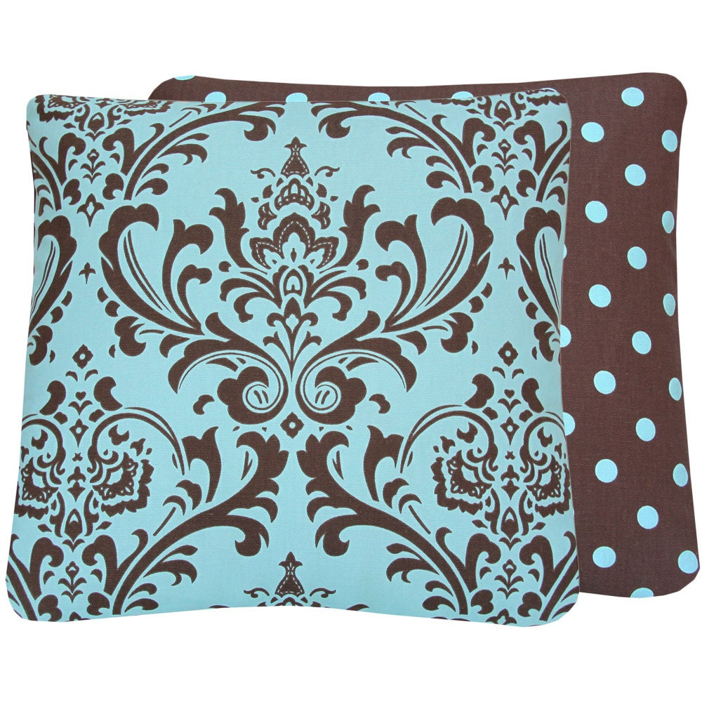 Teal Blue and Brown Throw Pillow Cover by ChloeandOliveDotCom