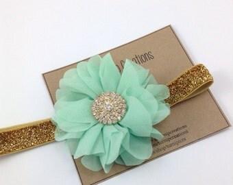 Mint & Gold Headband Ballerina Flower Headband Glitter Wedding Flower Girl Headband Rhinestone