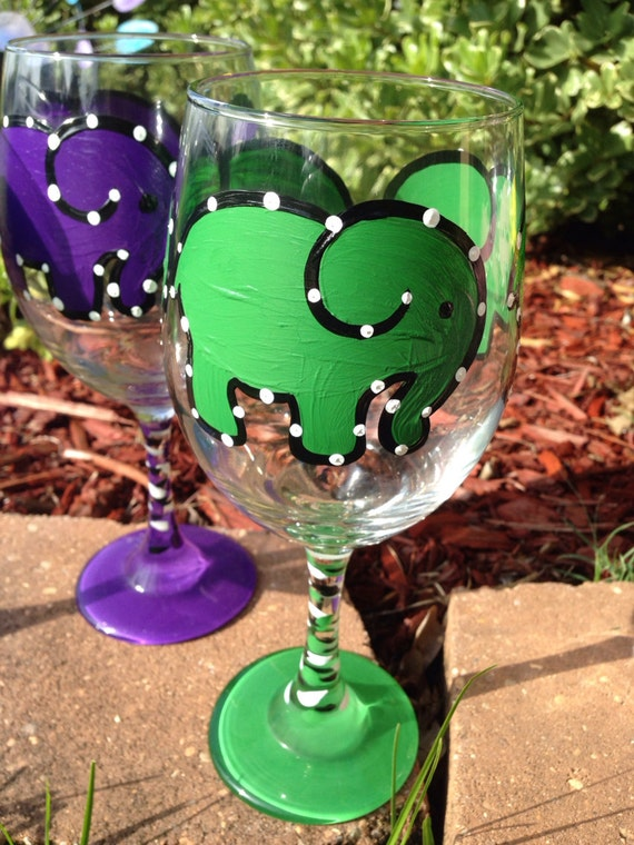 Green Elephant Painted Wine glass