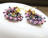 Romantic circle earrings tiny seed beads Toho with Swarovski rivoli crystal, finished with gold plated hooks.  Valentine's day