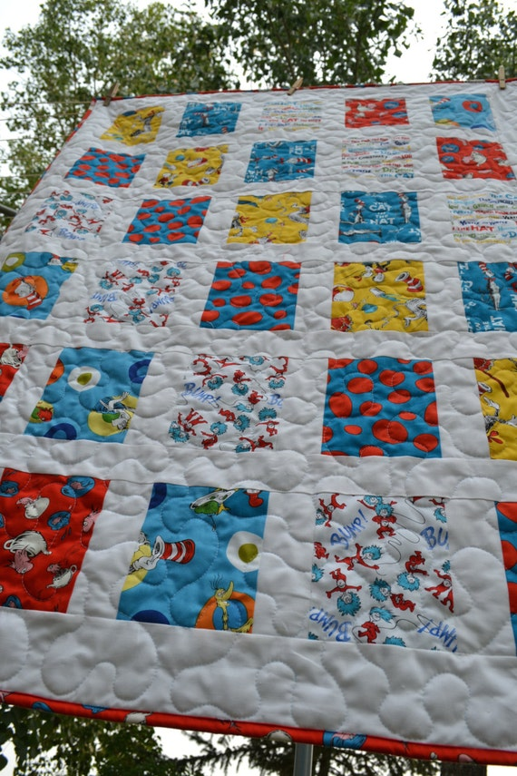 Baby boy quilt dr seuss fabric baby quilt turquoise blue for Boy nursery fabric