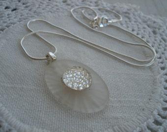 1920s Vintage Frosted Starburst Camphor Silver Pendant Lalique Style Antique Bubbled Glass Pendant Necklace