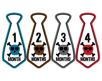 Monthly Boy Tie Stickers, Monthly Bodysuit Stickers, Monthly Stickers, Baby Month Stickers, Monthly Milestone Stickers, Skulls (BF003)