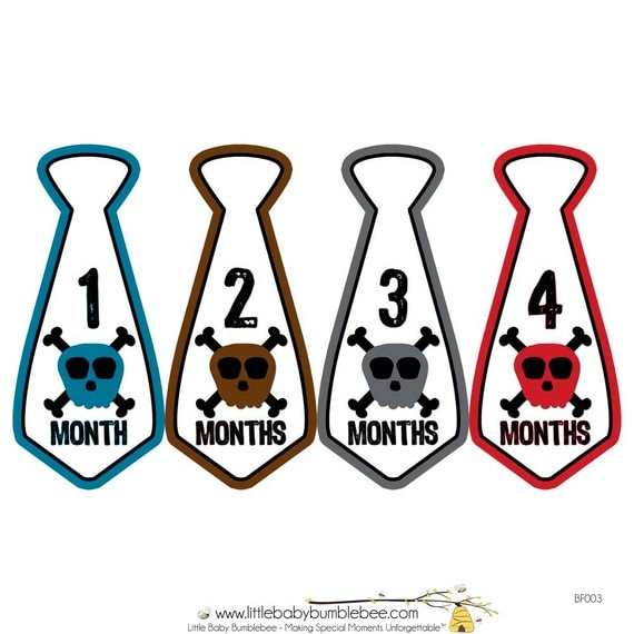 Monthly Boy Tie Stickers, Monthly Bodysuit Stickers, Monthly Stickers, Baby Month Stickers, Monthly Milestone Stickers, Skulls (BF003)