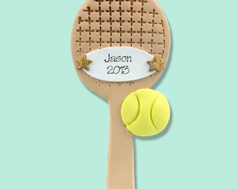 Tennis Racket  Personalized Christmas Ornament - Handmade POLYMER CLAY - MATTE Finish