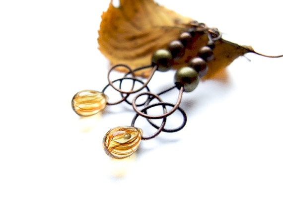 Autumn Drop Earrings, Cute Dangle Autumn Earrings, Honey Drops, Autumn Jewelry,