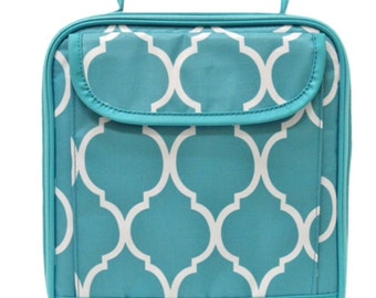 Aqua Quatrefoil Lunch tote from All for Color, monogrammed with your name, customized
