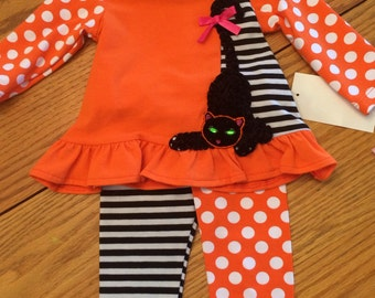 Cute Boutique Halloween outfit 6 months, black and orange, Black and white polka dots