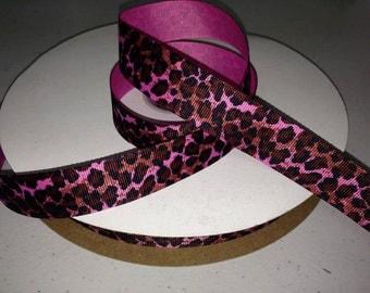 "10 yards of 1"" cheetah leopard wildcat hot pink grosgrain ribbon"