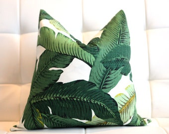 Green Palms - Banana Leaf - Decorative Pillow Cover- Indoor- Outdoor- Tropical- Aloe- 18x18""