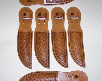 6 Groomsmen/Holiday Gifts-Hand Tooled Brown Basket Weave Leather Knife Sheaths-item BRBW-02
