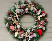 Vintage Style Evergreen Wreath, Vintage Ornaments, Holiday Trims, White Beads