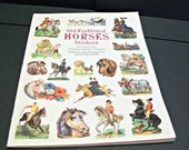 Vintage Sticker Book Old-Fashioned Horses Craft Supplies Old Horse Ephemera Mixed Media Collage Altered Art Supply Book