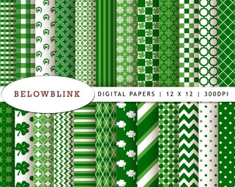 St. Patrick's Day Digital Paper Pack, Scrapbook Papers, 24 jpg files 12 x 12 - Instant Download - DP171