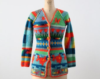 FREE SHIP  vintage 1970s crotchet hippie cardigan
