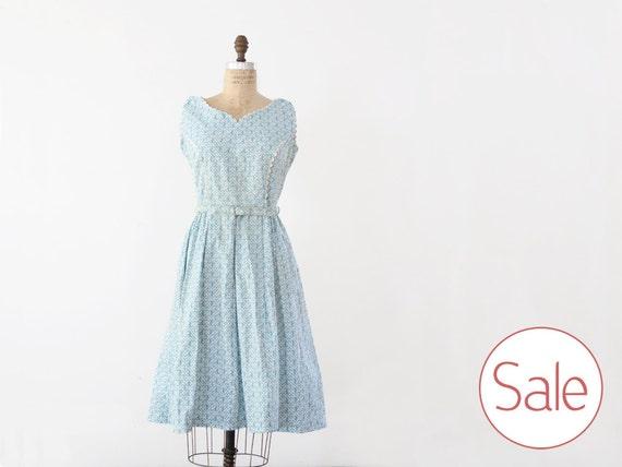 SALE vintage 50s dress / Full Skirt Blue Garden Party Dress