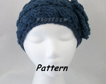 Instant Download to PDF CROCHET Pattern: New Rolling Waves Headband with Spiral Rose