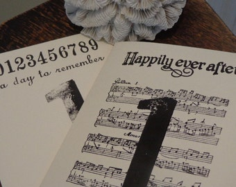 READY TO SHIP Something Old, Something New 10 2 Sided Engagement Party/Wedding Table Number Cards Blk & Cream  Hand Made Vintage Letterpress