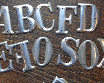 Vintage Metal Letters Letterpress Style,U Pick ONE for signs, keepsake gift tags,  cards, table decor,  mixed media, matte silver hue, 3 D