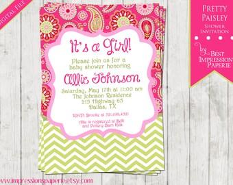 Pretty Paisley - A Customizable Baby Shower Invitation