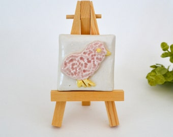 Miss Chickadee  -  2 x 2 Ceramic Tile With Easel