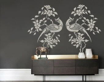 Bird Stencil for Walls - Pheasant in a Flowering Branch - Large, Reusable stencil for DIY Home Decor