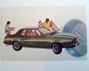 Vintage 1975 Mustang  II 2 door sports roof  Car Auto  Dealer Advertising postcard with Tennis players